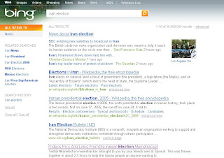 Bing search results for Iran election