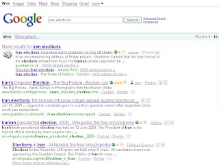 Google Search for Iran Elections