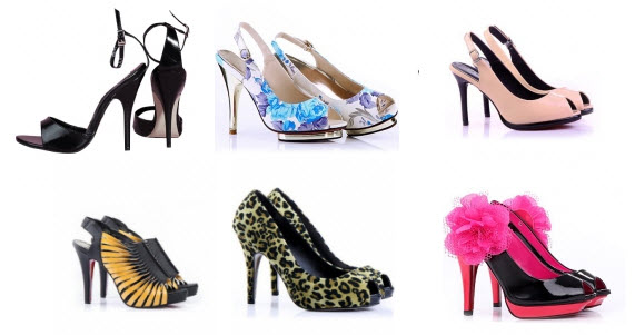 different high heels