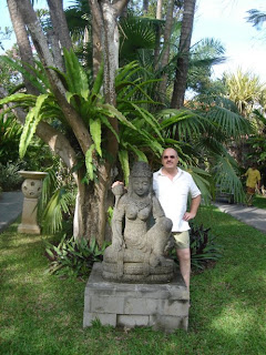 In the garden of Puri Santrian, Sanur Bali, a boutique accommodation at the beach.