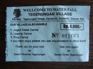 ticket voor bezoek aan de waterval van Tegenungan bij Ubud op Bali