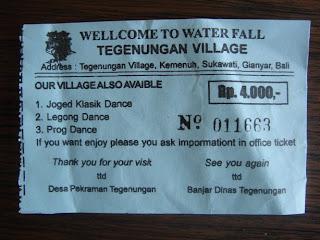 ticket voor bezoek aan de waterval van Tegenungan bij Ubud op Bali