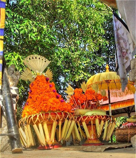Offerings at a family temple in the rice fields as seen from a small boutique hotel near Ubud, Bali