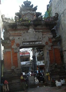 View of the entrance gate of the market in Gianyar, Central Bali, Indonesie