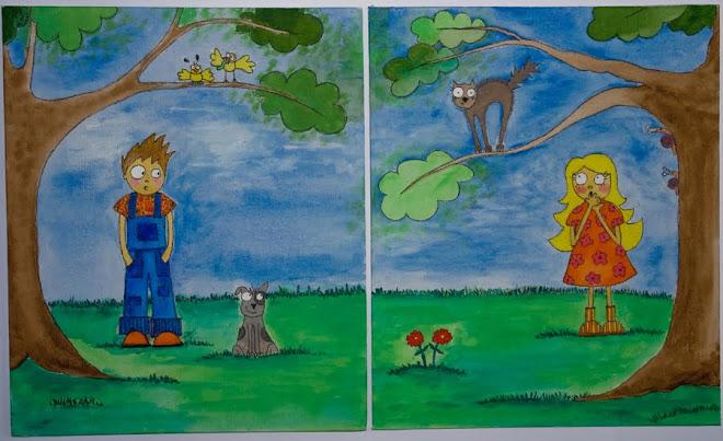 Niños y sus mascotas, pintura en acrilico.