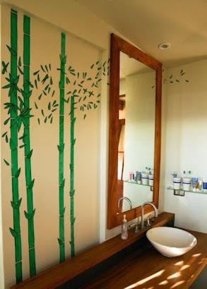 Mural bamboo baño
