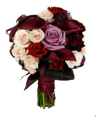 Dark purple and red calla wedding bouquet Red calla pink