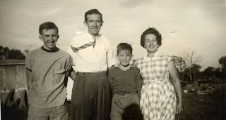 In 1962 as Baz was getting ready for the airforce. We are all in this photo if you count my shadow. Baz was 17, Rossie was 12, Dad and Mum were both 41.