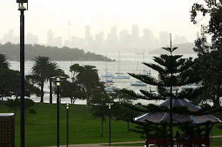 Watson's Bay affords a remarkable view back up the harbour to the city. Last Sunday it was scudding with rain