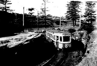 This is an R1 class tram coming through the purpose built cutting very close to The Gap on South Head