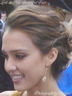 Jessica Alba Face at the Fantastic Four Rise of the Silver Surfer Premiere in London June 2007