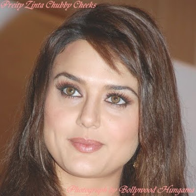 Preity Zinta Chubby Cheeks on Her Face