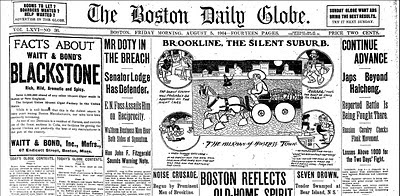 Boston Globe Front Page, August 5, 1904