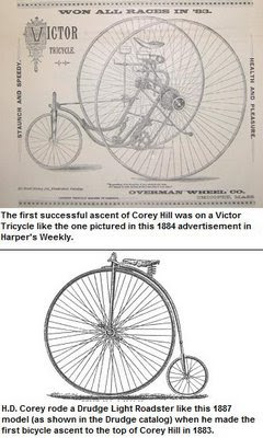 Illustration: a Victor Tricycle, top, and Rudge Light Roadster, bottom, were the first tricycle and bicycle to climb Corey Hill