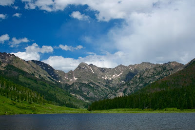 Scenic Piney Lake near Vail Colorado is a great place to hike or lounge at the nearby resort