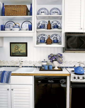 50s blue and white