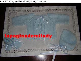 lapaginademilady: Conjunto azul a punto musgo