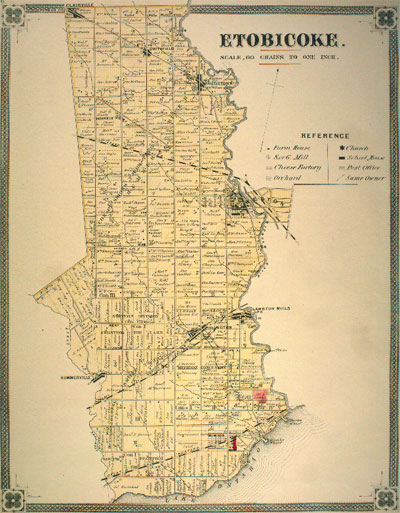 Historical Map of Etobicoke 1878