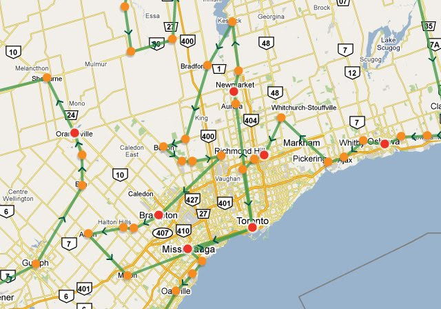 Map Olympic Torch Relay Toronto