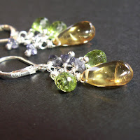 jewelry earrings sterling silver citrine peridot iolite