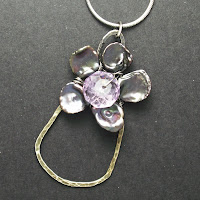 necklace keshi pearls amethyst purple handcrafted inspiration flower