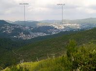 Panoràmica sobre Vallirana, Cervelló i la Vall d'Arús