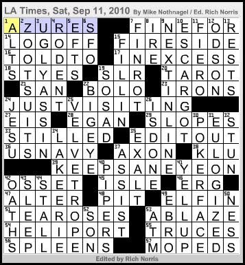 L A Times Crossword Corner Saturday September 11 2010