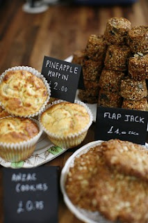 Muffins and flapjacks, breakfast at The Modern Pantry, Clerkenwell