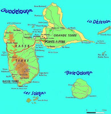 Carte de la Guadeloupe et de ses dependances : Les Saintes, La Désirade et Marie-Galante. Trajet de l'aéroport Pole Caraibes à Pointe-Noire