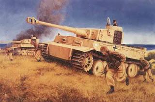 Tiger I en sicile? Strike_for_Gela_Sicily_July_11_1943_by_David_Pentland_Tiger_+I_+tanks_+H_Goering_Div_attack_US_7th_Army_landing_beach_1st_day_Husky