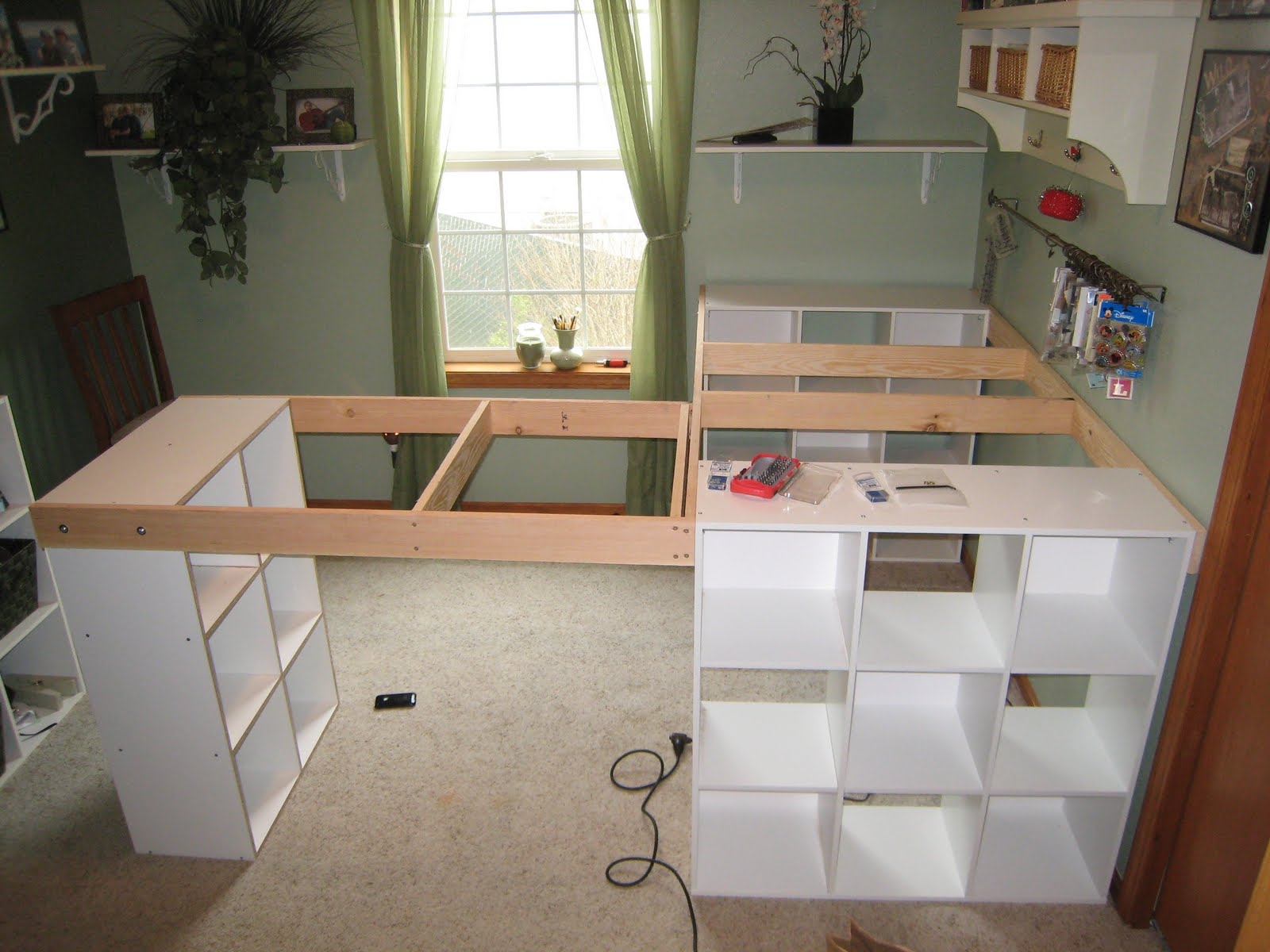 Do it yourself white craft desk for Building a craft room