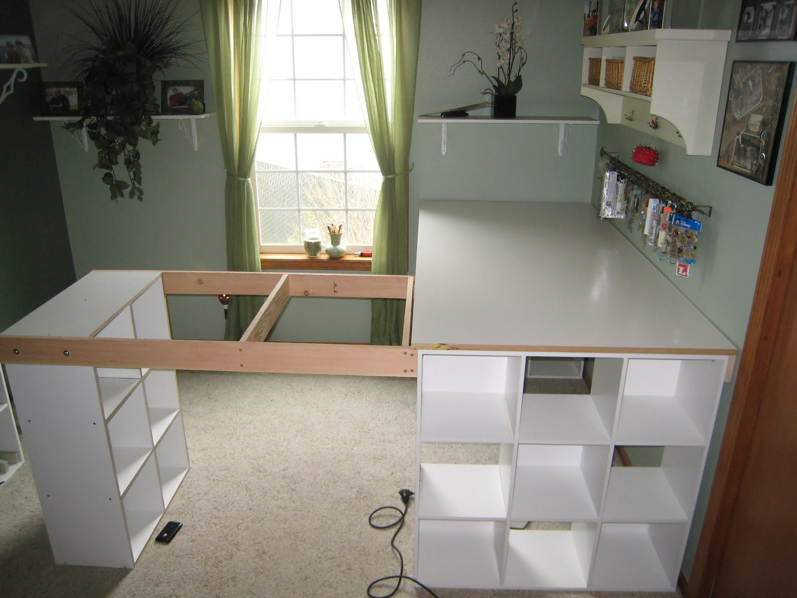 do it yourself white craft desk how to build a custom craft desk. Black Bedroom Furniture Sets. Home Design Ideas