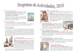 """PROGRAMA DE ACTIVIDADES ´""""DÍA DEL LIBRO 2010"""", BIBLIOTECA DE PANTOJA"""