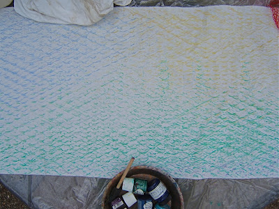 here iu0027m set up with my plastic drop cloth fabric paints sponge brush and pie tin pallet i put dabs of paint one color at a time onto the pallet then