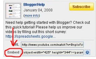 how to put youtube video on blogger