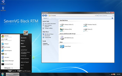 Download Windows 7 theme for Windows XP Free - SevenVG RTM Black