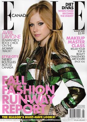 Avril Lavigne en la portada de Elle Canada (Agosto 2009)