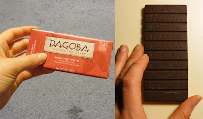 Dagoba Beaucoup Berries chocolate bar, wrapped and uwrapped