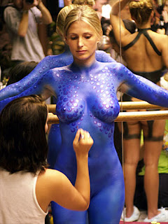 Blue Body Painting on Women