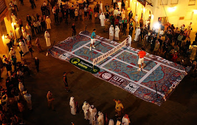 Federer and Nadal play on a magic carpet