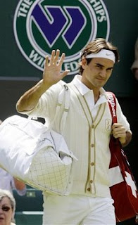 Roger Federer in his cardigan