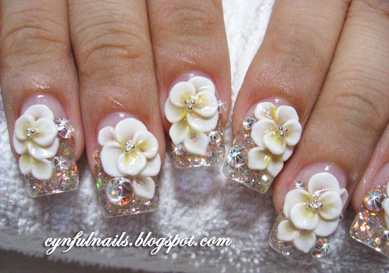 3d nail art flowers image collections nail art and nail design ideas flowers 3d nail art cynful nails more bridal nails cynful nails prinsesfo image collections prinsesfo Gallery