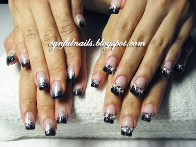 Black Gel Nails With French Lace Embedded I Love The Colour Contrast