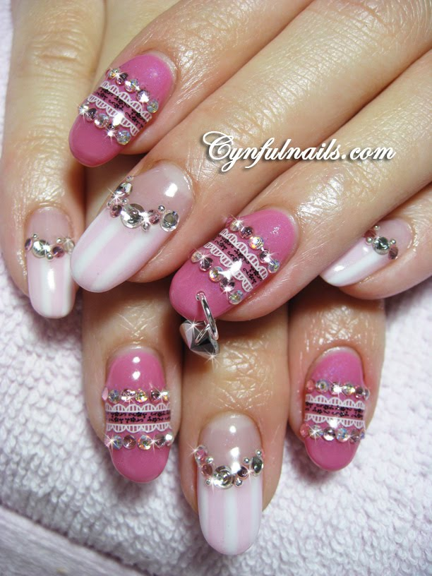 Cynful Nails: Pink and colourful gel nails.