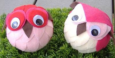 pink felt owls