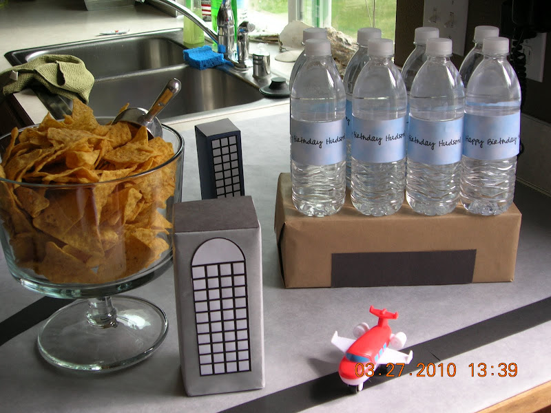 airplane party lunch counter water bottles