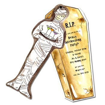 mummy and coffin invite