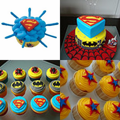 super hero cup/cake collage
