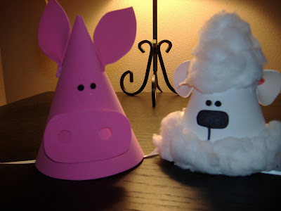 Foam farm animal party hats
