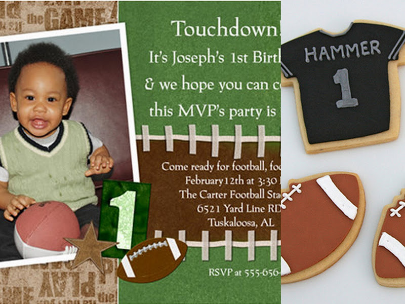 first birthday football party collage